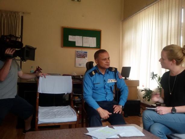 Dig Kamal Singh Bom with ABC journalist Siobhna Henue